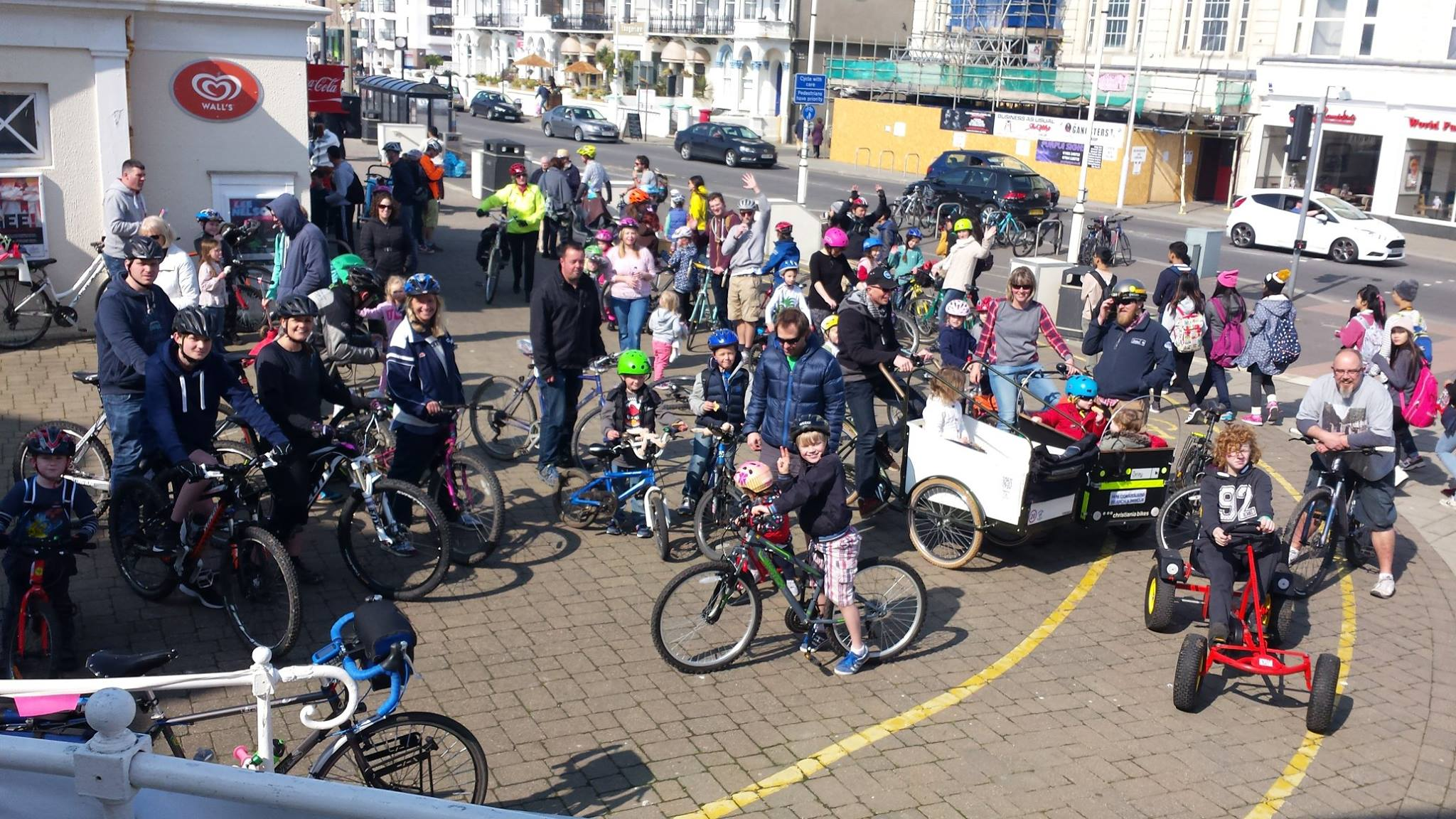 Group Family Bicycle Ride on Worthing Promenade