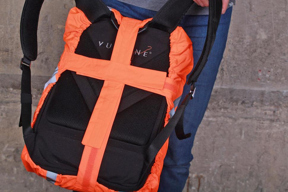BTR Orange Waterproof High Visibility Backpack Cover - back.jpg
