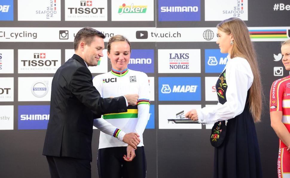 Chantal Blaak in the rainbow jersey (source UCI Cycling on Twitter).jpg