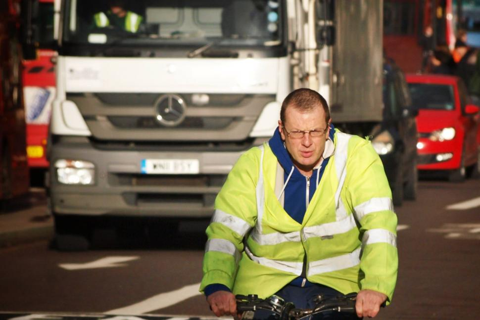 Lorry driver on bicycle