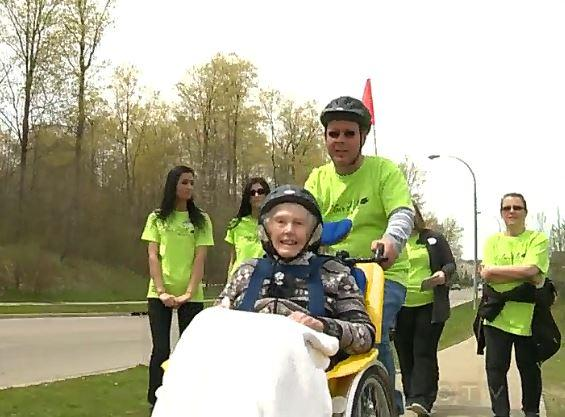 Elta Lincoln goes cycling for first time (source CTV video still).JPG