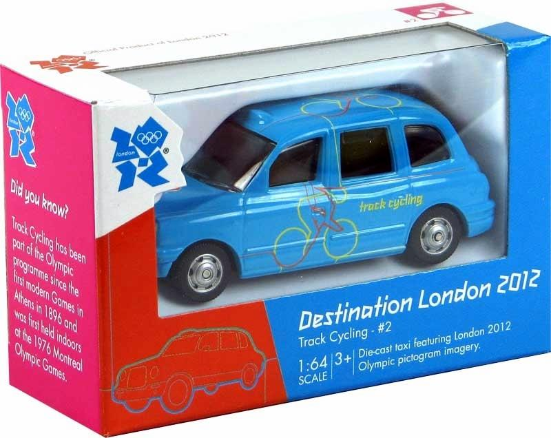 Corgi 'Destination London' Olympics 2012 1:64 taxi with cycling livery