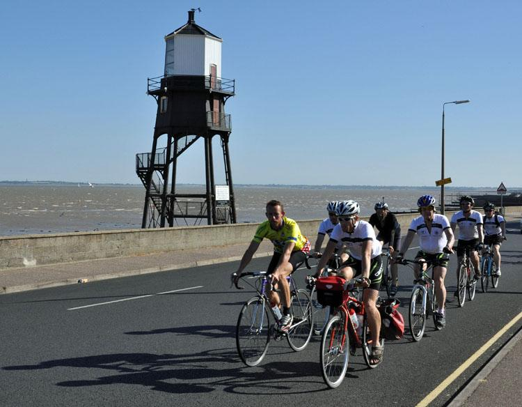 The Great Tour 2010 riders near Harwich