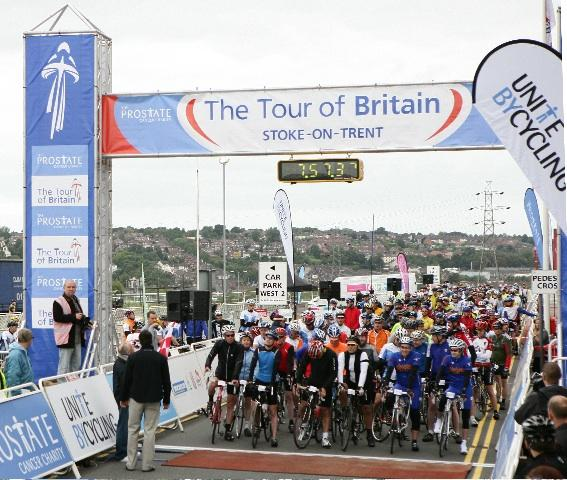 Riders at the start of The Prostate Cancer Charity Tour Ride in Stoke-on-Trent