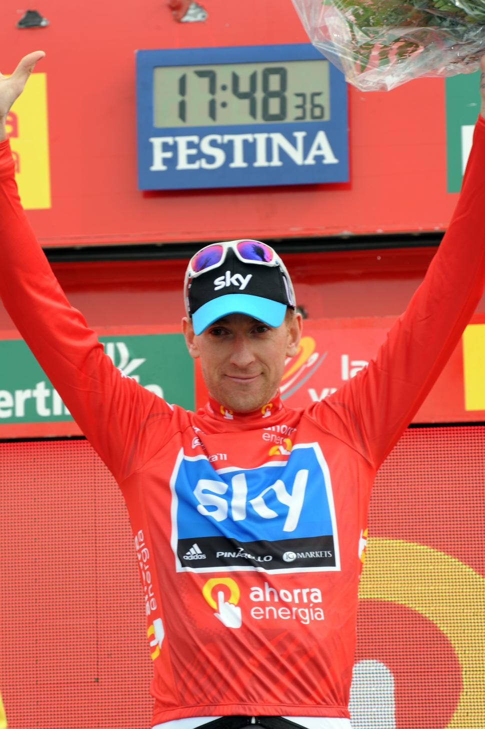 Bradley Wiggins in the Vuelta red jersey (copyright: Tour of Spain/Graham Watson).jpg