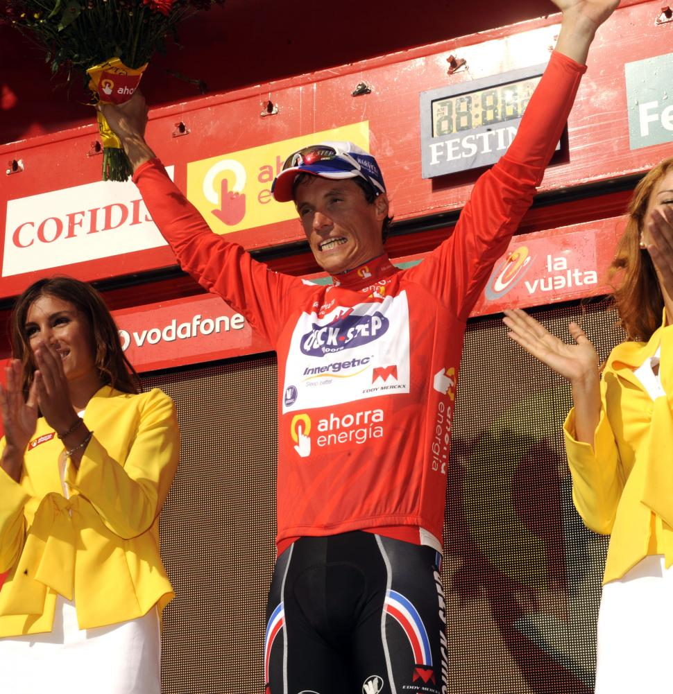 Sylvain Chavanel in Vuelta leader's jersey (copyright Tour of Spain/Graham Watson).jpg