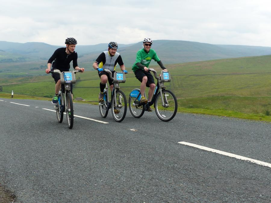 The trio crest Buttertubs Pass and make it look a lot easier than it was (image ©Lewis Baguley #BORISvLeTour)