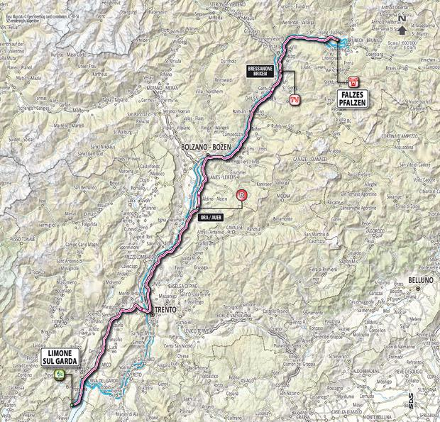 Giro 2012 Stage 16 map