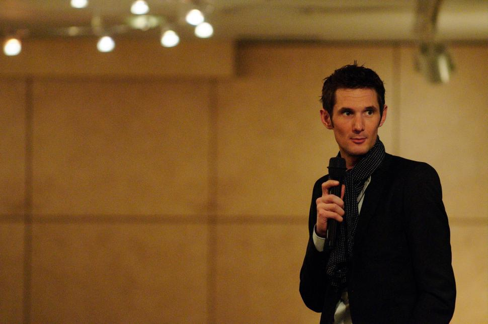 Leopard Trek launch - Frank Schleck on the mike (pic-Geoff Waugh)01