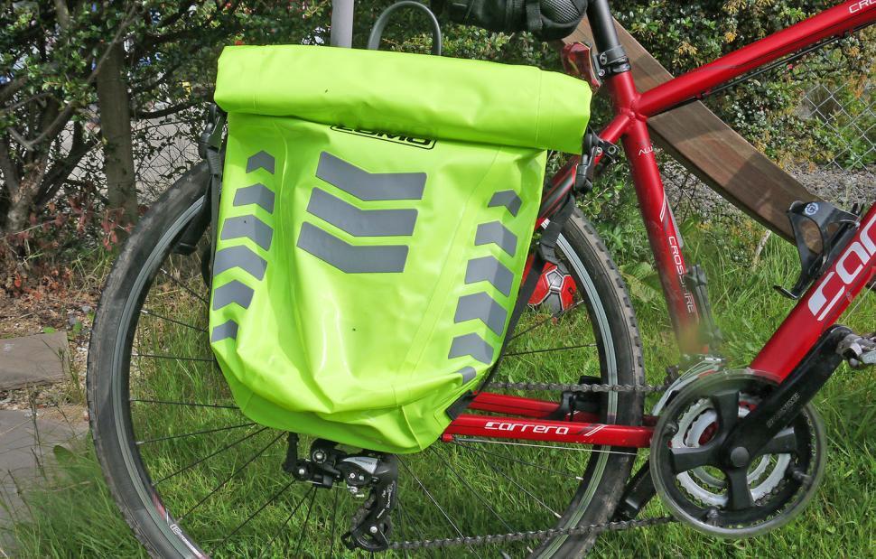 Lomo Dry Pannier Bag Hi-Vis - on bike