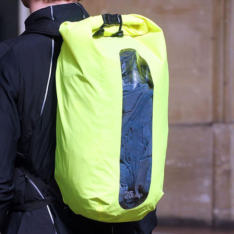 AlpKit Gourdon 25 drybag rucksack - worn