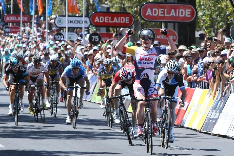 Andre Greipel wins in Adelaide, 2013  TDU (copyright Santos Tour Down Under, Regallo)