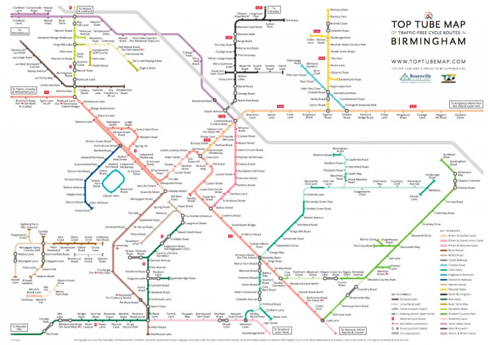 Birmingham Top Tube Map