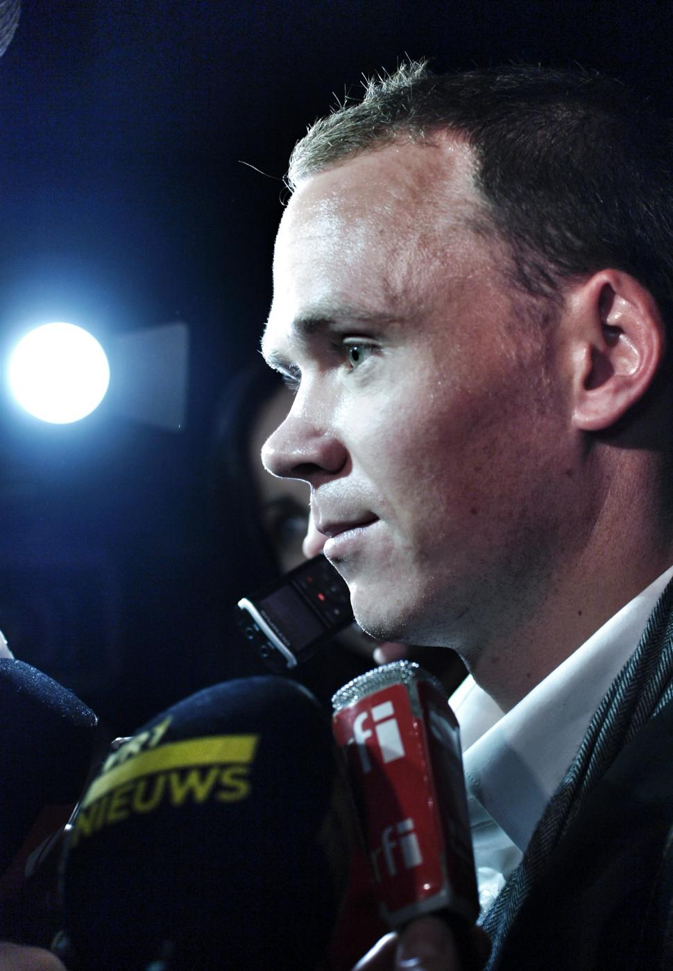 Chris Froome at 2013 Tour de France presentation (copyright Simon MacMichael)