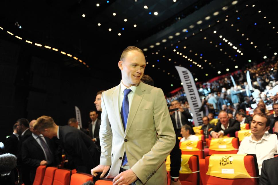 Chris Froome at presentation of 2014 Tour de France (copyright Simon Wilkinson, SWPix.com)