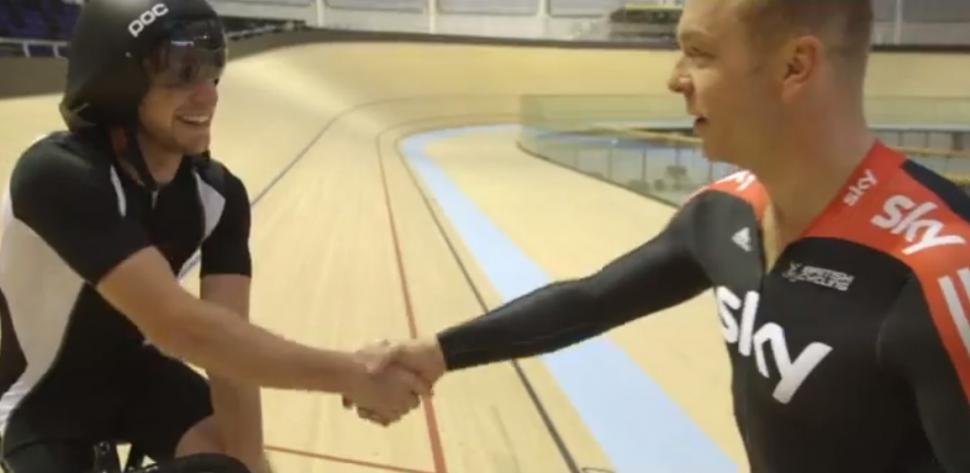 Danny MacAskill and sir Chris Hoy (Glasgow 2014 YouTube still)