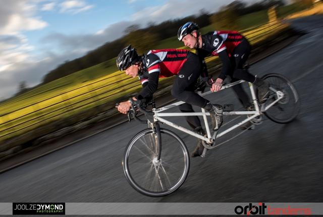 Dominic Irvine and Charlie Mitchell on ther way to smashing the LEJOG tandem record