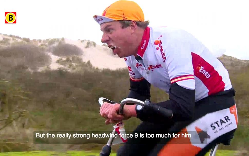 Video Time Trialling Into A Force 9 At The Dutch Headwind