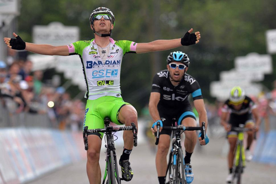 Enrico Battaglin wins 2014 Giro Stage 14 - picture credit LaPresse