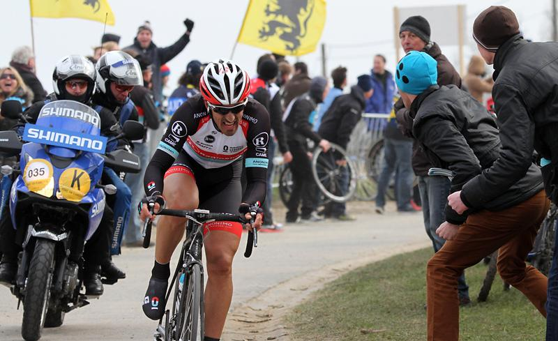 Fabian Cancellara on his way to victory in the 2013 Tour of Flanders (CC licensed image by Brendan A Ryan:Flickr)