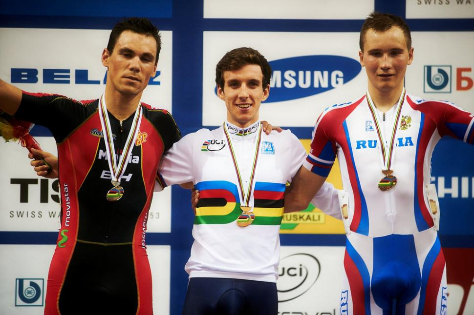 GB's Simon Yates with Spain's Eloy Teruel and Russia's Kirill Sveshnikov (copyright Britishcycling.org.uk)