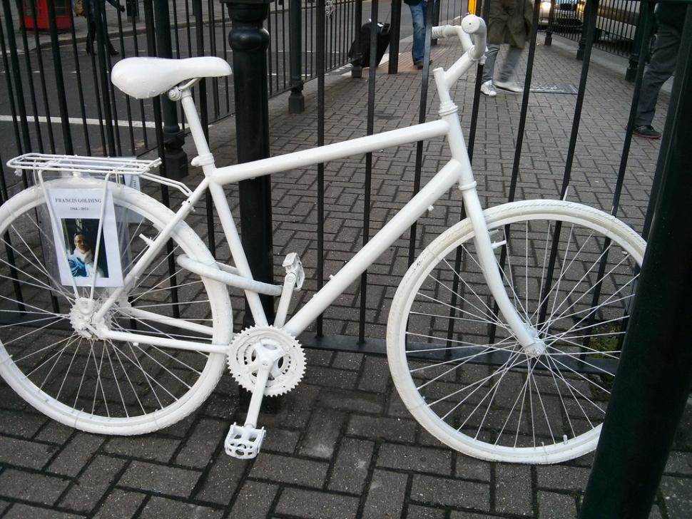 Ghost bike placed in memory of Francis Golding (CC licensed image by Paul Downey:Flickr)