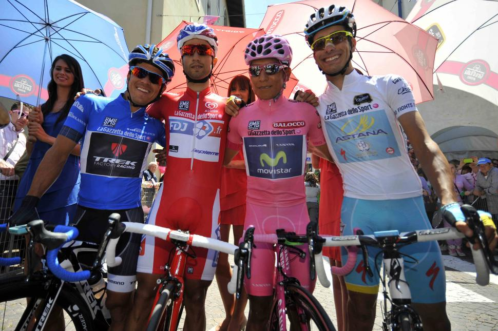 Giro 2014 Stage 21 jersey wearers - picture credit LaPresse