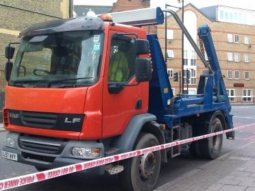 HGV skip lorry cordoned off at the scene of a cyclist s death.jpg