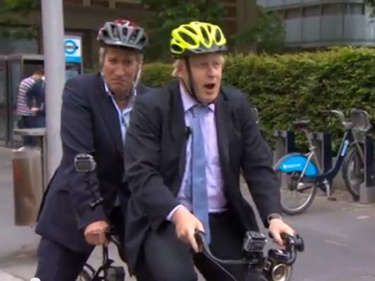 Jeremy Paxman and Boris Johnson in tandem (BBC Newsnight YouTube still)