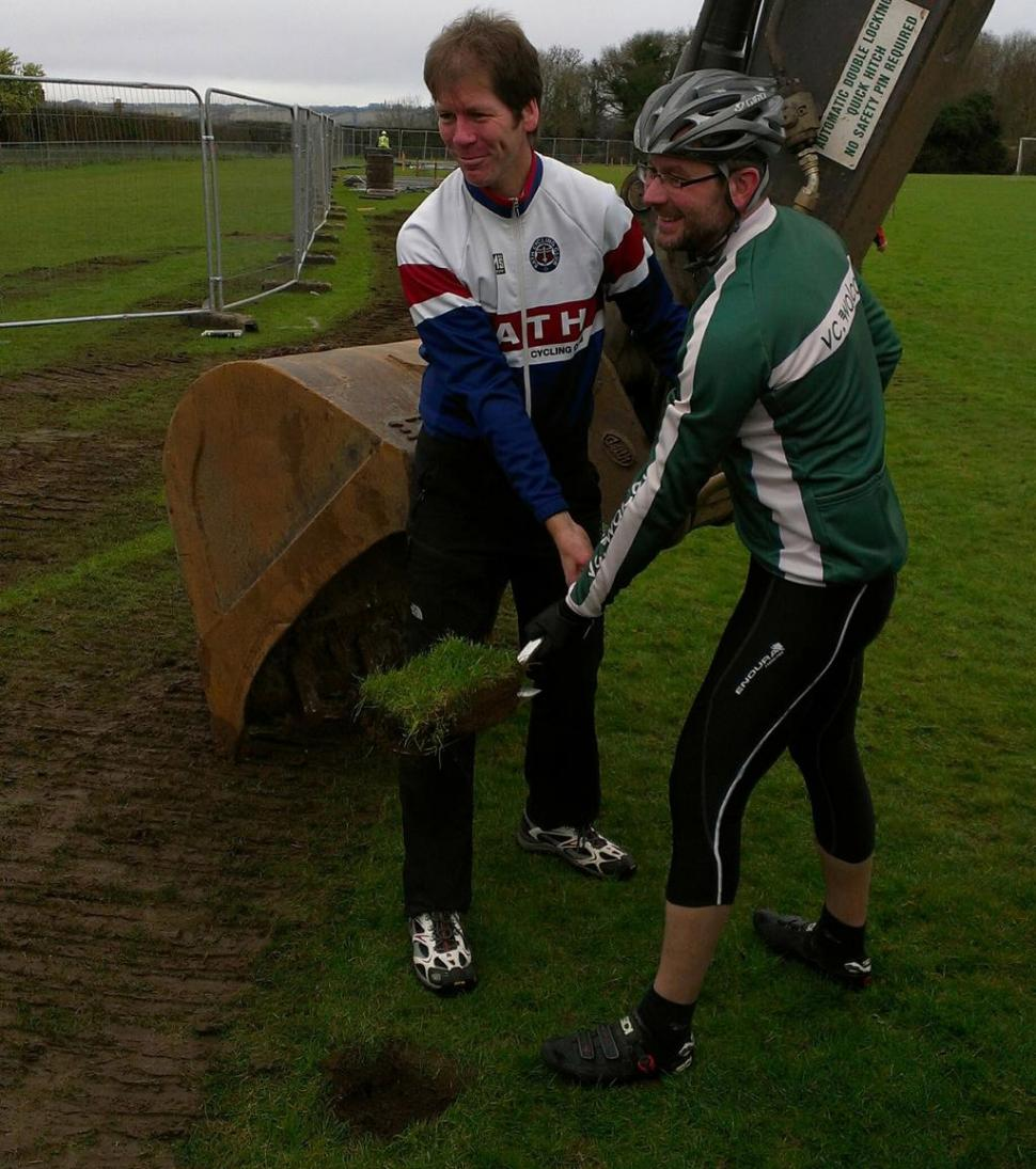 Jon Arnold and Andy Stewart cut the turf at Odd Down