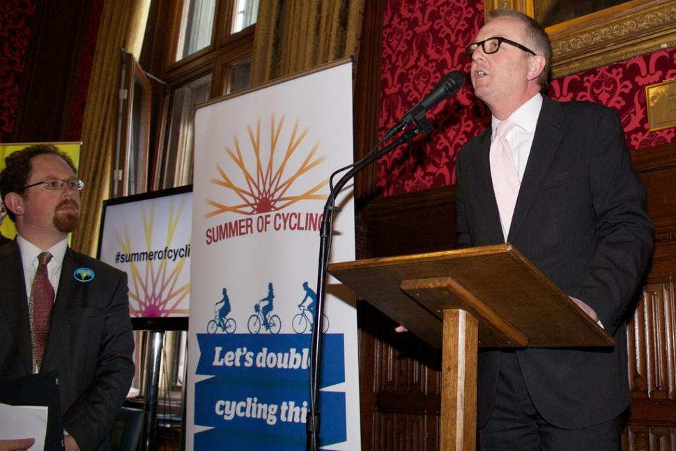 Julian Huppert and Ian Austin at Summer of Cycling launch (© Carlton Reid)