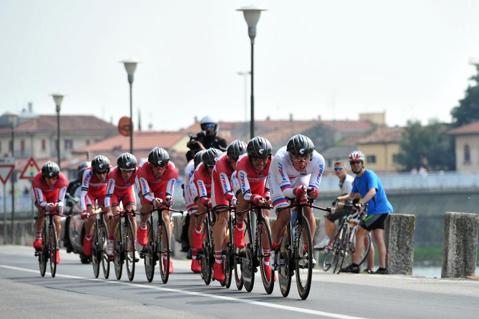 Katusha in 2012 Giro TTT (copyright Daniele Badolato, LaPresse, RCS Sport)