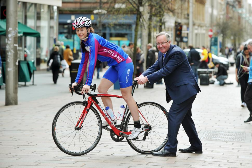 Kayleigh Brogan in Buchanan St. ,Glasgow,today with leader of Glasgow City Council, Gordon Matheson (pic- Ian Watson)