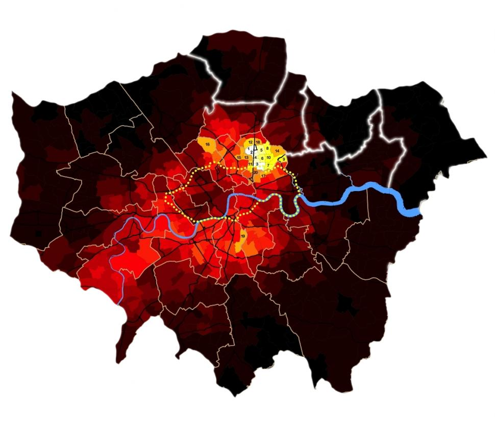 London Cycle Map (source Bolt Burdon Kemp)