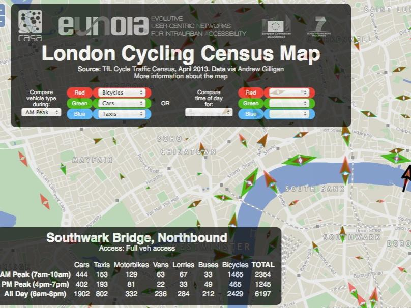 London Cycling Census Map 2 (credit Oliver O'Brien based on TfL data)