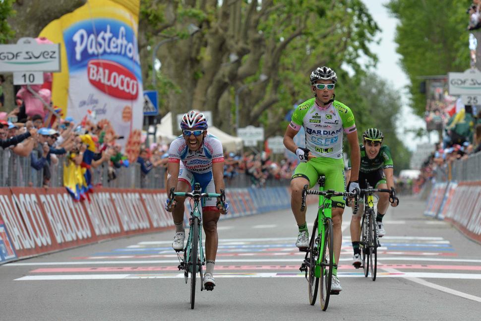 Marco Canola wins 2014 Giro Stage 14 - picture credit LaPresse