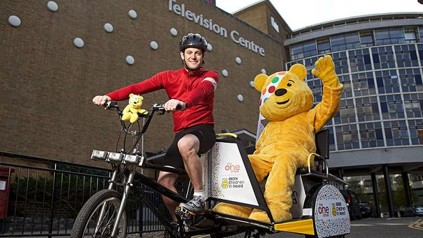 Matt Baker on his rickshaw outside BBC Television Centre