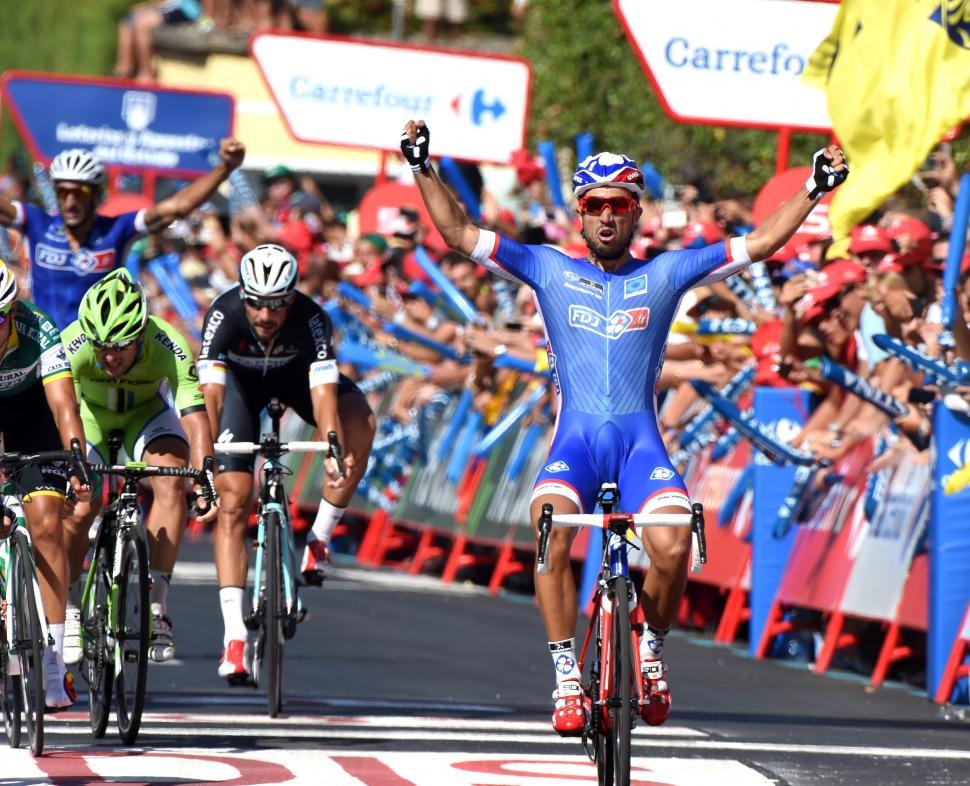 Nacer Bouhanni wins Vuelta 2014 Stage 2 (picture credit Unipublic, Graham Watson)