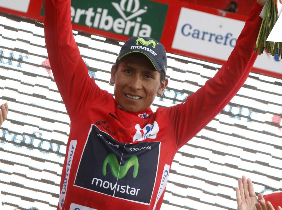 Nairo Quintana in Vuelta leader's jersey after Stage 9 2014 (pic Unipublic, Graham Watson)