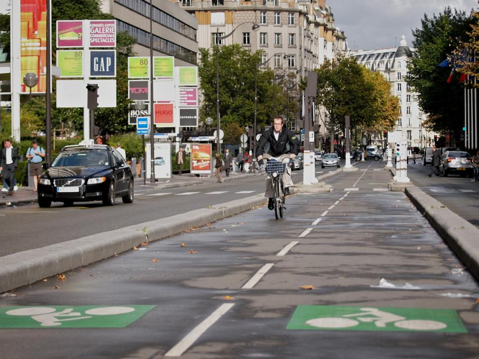 Paris Velib rider and cycle lane