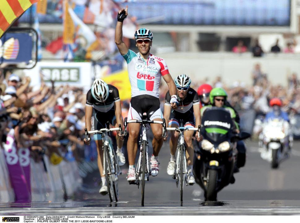 Philippe Gilbert wins Liege-Bastogne-Liege 2011 (credit- Graham Watson)