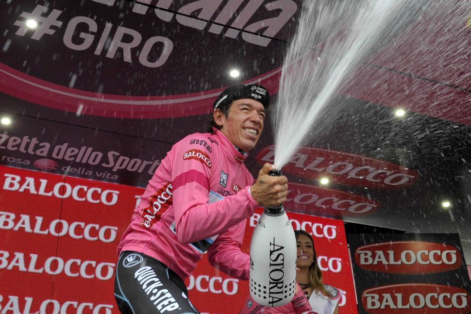 Rigoberto Uran celebrates after winning 2014 Giro Stage 12 - picture credit LaPresse
