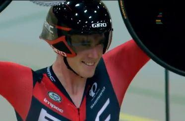 Rohan Dennis celebrates smashing the Hour record UCI YouTube still