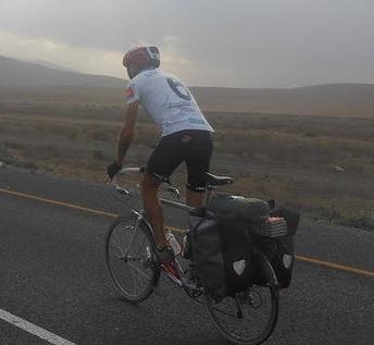 Hugh Thompson on his journey to Rio (Image via www.ride2rio.co.uk)
