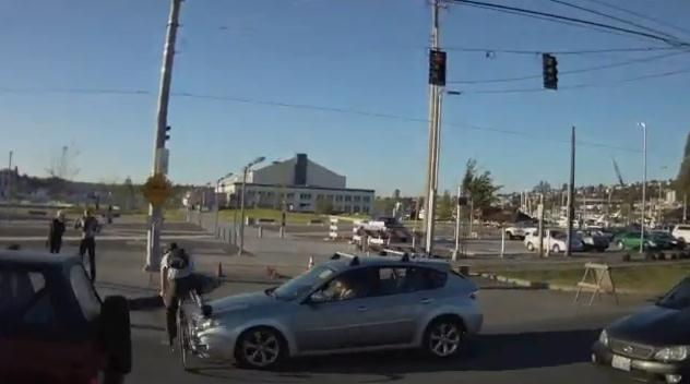 Seattle cyclist hit by car YouTube.jpg