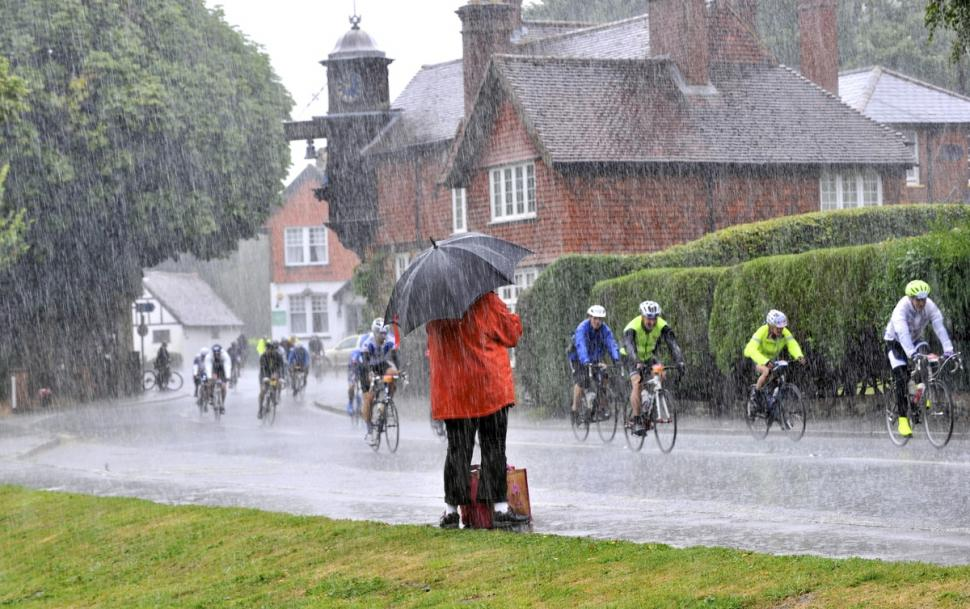 Slightly moist conditions at the 2014 Prudential RideLondon Surrey 100