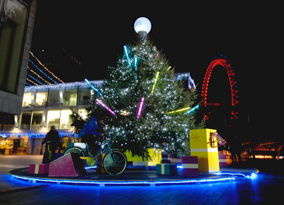 Southbank Centre Pedal Powered Christmas Trees (courtesy Electric Pedals)