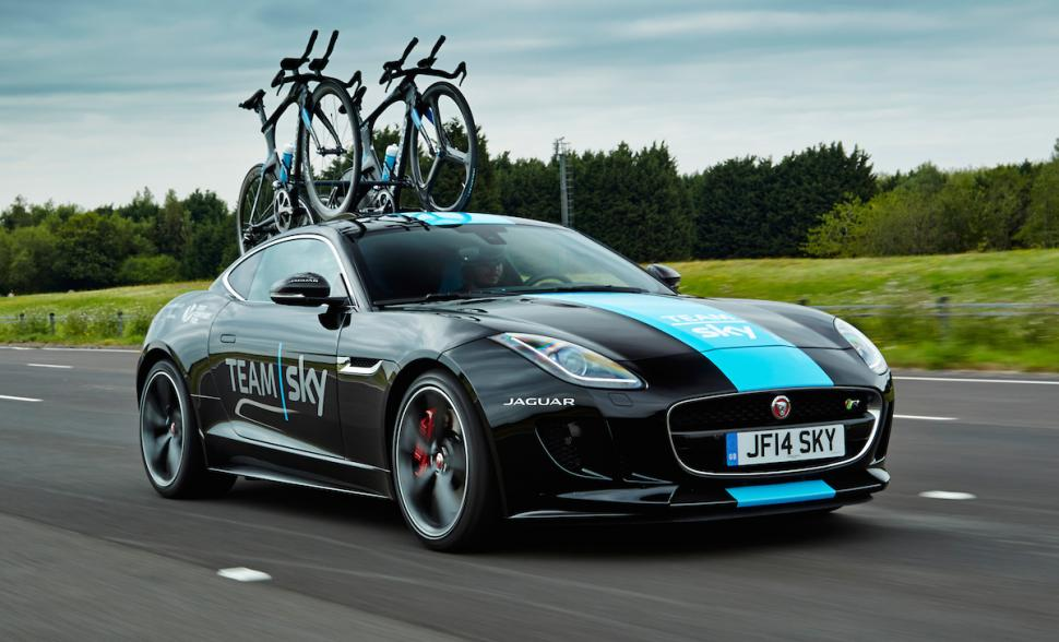 Team Sky's Jaguar F-Type time trial support vehicle