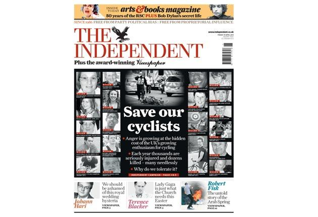 The Independent Save Our Cyclists front page.jpg