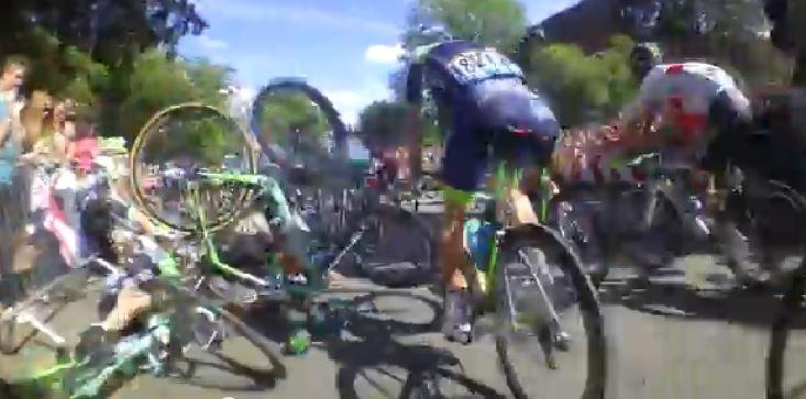 Tour de France 2014 S1 crash on-bike footage YouTube still